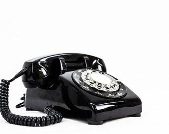 Completely Refurbished Working Vintage Rotary Dial Phone - Black