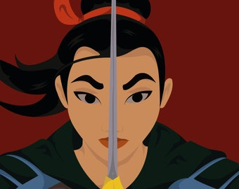 "10""x8"" Mulan Illustrated Print"