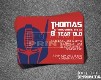 Optimus Prime Transformers Invitation - Autobots - Bumblebee