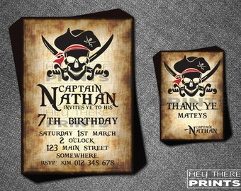 Pirate Birthday Invitations and Thank You Cards - Skull and Bones - Jolly Roger