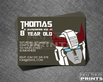 Prowl Transformers Invitation - Autobots - Optimus Prime - Bumblebee