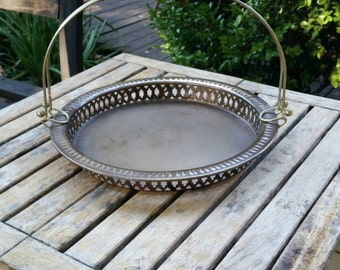 Vintage Burnished Brass Bread Serving Tray