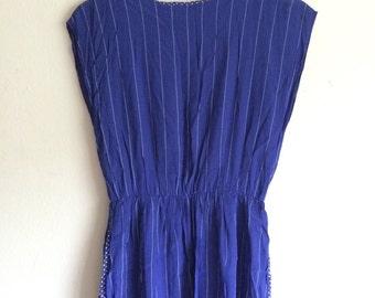 SALE 80s blue stripe dress