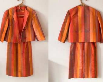1960s Women's 3 Piece Striped Silk Suit