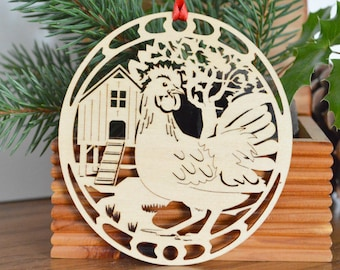 Wooden Hen ornament 3 French Hens wood cut design woodcut 12 Days of Christmas ornament