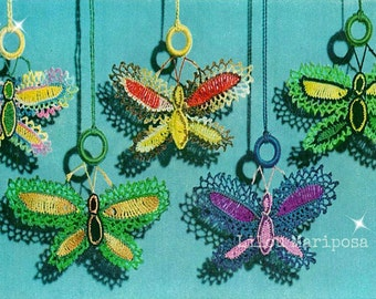 Crochet Butterfly Pattern Vintage 70s Crochet Ornament Crochet Butterflies Applique Pattern Crochet Light Pull Pattern