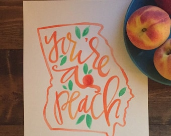 Georgia Peaches! | Hand Painted | Map Art