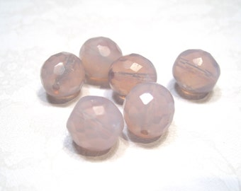 Czech Glass 12mm Facet Round - Milky Lavender - Pack 6