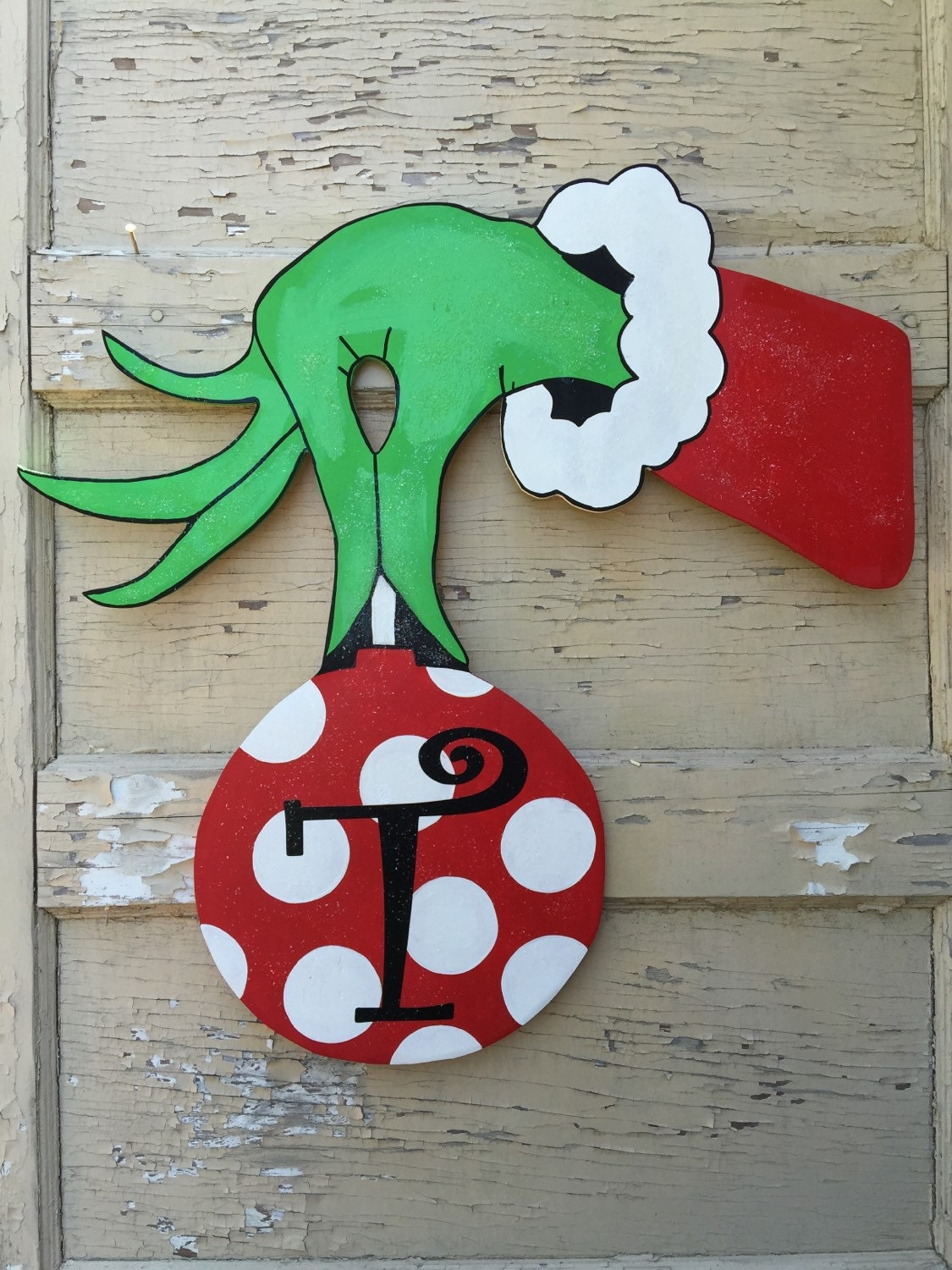 Grinch Hand and Ornament Door Hanger by KenlysCreations on ...