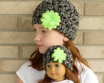 Matching Girl & Doll Hat Set--Black/Grey with Green Flower