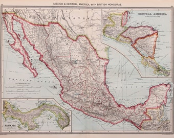 Antique Map : Mexico, Central & Latin America, Harmsworth c. 1907. Lovely Pastel Colours