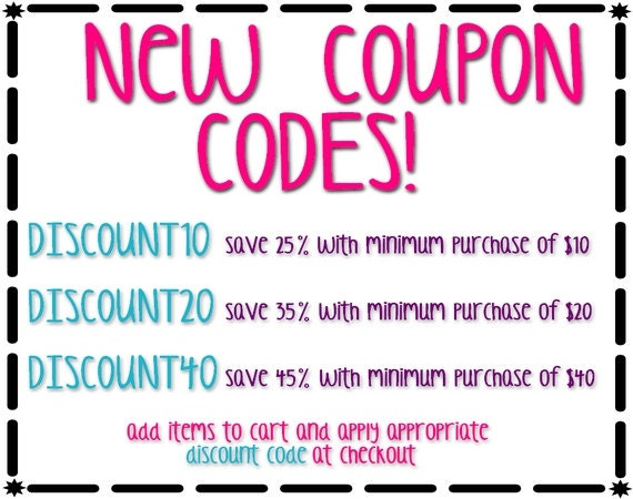 FAQ's for Redeeming an Etsy Coupon: You can apply multiple coupon codes to your multi-shop checkout order by entering them one at a time. Free shipping coupons may not apply to all items in your cart as codes vary for each Esty shop. You can only apply one coupon per listing in your checkout.