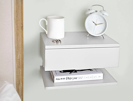 floating bedside table by urbansize on etsy. Black Bedroom Furniture Sets. Home Design Ideas