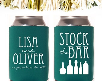 Stock the Bar Housewarming Party Favors: Custom and Personalized Can Cooler