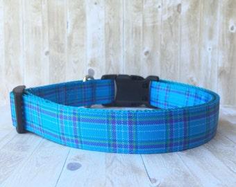 Blue and Purple Plaid Dog Collar- Blue Plaid - Purple Plaid - Preppy Dog