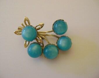 Vintage Teal Moonglow / Lucite Ball Flower Brooch