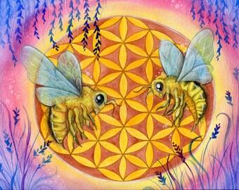 Flower of Life - Ape - Mandala - Sacred Geometry - Print from Original Watercolor