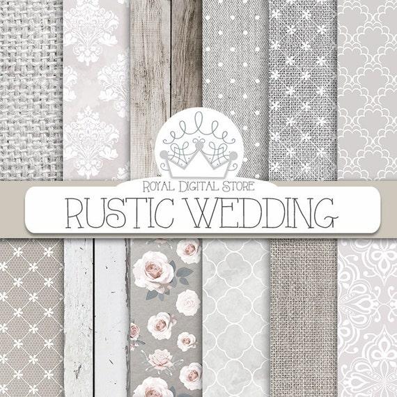 Wedding Digital Paper RUSTIC WEDDING With White