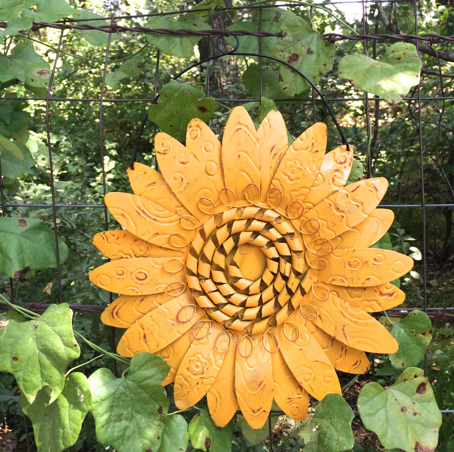 Garden Sunflower Wall Decor : Wire hanging metal sunflower marigold flower