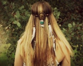 Dream Catcher Headband Leather - Feather Extensions - Boho, tribal, southwest, native inspired, wedding headwear festival headpiece handmade