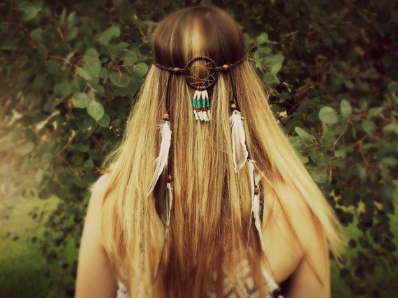 Feather Headband, Dream Catcher Head Jewelry, Hair Jewelry, Leather Headband, Feather Extensions, Native, Tribal Southwest Boho Wedding Hair