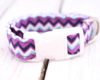 Purple Fabric Dog Collar: Extra Small 8-11 inches, Purple Fabric Dog Collar, Chevron Dog Collar, Purple Collar, Chevron Print, Adjustable