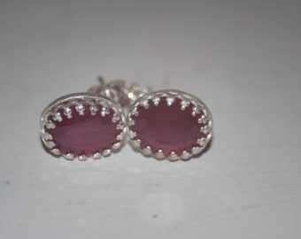 Handmade Genuine Ruby Earrings Stud in Sterling Silver