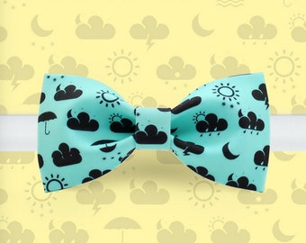 Weather bowtie - Sunny bowtie - Green bowtie - Cute bowtie - Cartoon bowtie