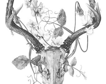 Deer skull and flowers - Temporary tattoo