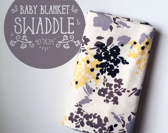 Flowery Neutral Cotton Flannel Baby Blanket, Receiving, Swaddling, Baby Gift, Baby Shower