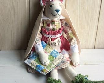 Animal Bunny needlewoman Handmade fabric stuffed toy Bunny gift woman,Handmade interior textile doll gift for her