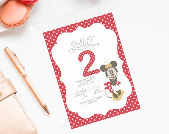 Minnie Mouse Invitation   Vintage Minnie Invitation   Minnie Mouse Invite   Pink Minnie Mouse Invitation   Minnie Mouse Party