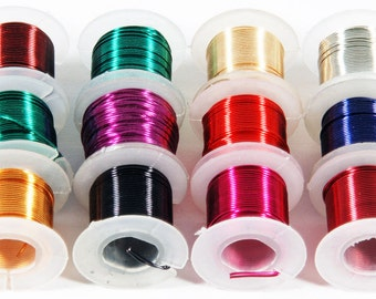 12 Spools or Assorted Colors Craft Beading Artistic Wire 26 Gauge 5 Yards Each (Free Shipping USA)
