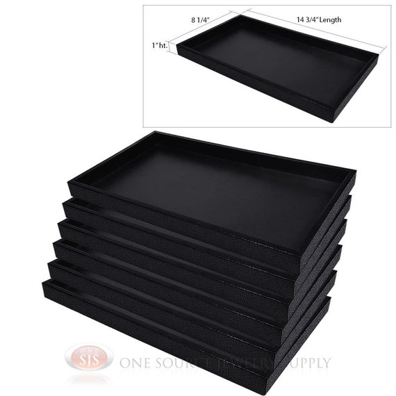 6 Black Plastic Display S le Trays on stackable desk trays