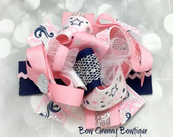 Hair Bow, Pink and Navy Bow, Mini Funky Bow, Funky Bow, Funky Hair Bow, Over the Top Bow, Pink Funky Bow, Small Hair Bow, Girls Hair Bow