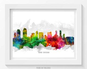 San Diego California Skyline Poster, San Diego Cityscape, San Diego Art, San Diego Decor, Home Decor, Gift Idea 12