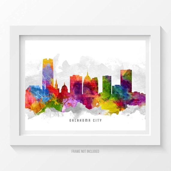 Oklahoma City Skyline Poster Oklahoma City Art Oklahoma City