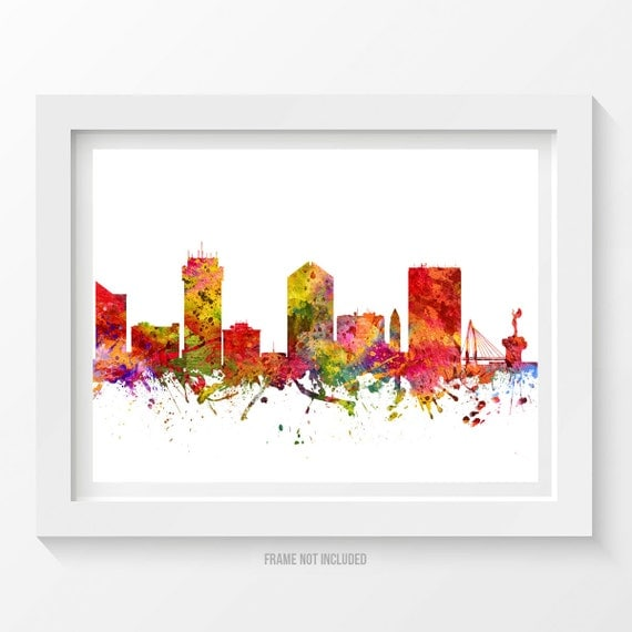Wichita kansas skyline poster wichita cityscape wichita art for Craft stores wichita ks