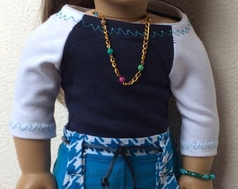 American Girl Doll Clothes, handmade, Tshirt, mini skirt, cargo skirt, back to school clothes, blue, navy