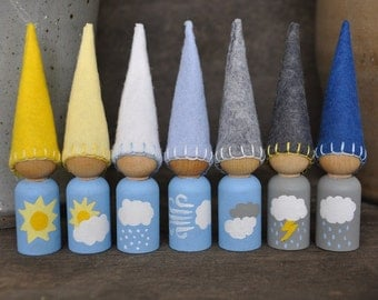 Weather Gnomes - Painted, Wooden and Wool Felt Peg Dolls Set -  Waldorf and Montessori Inspired Preschool Pretend Play Toys