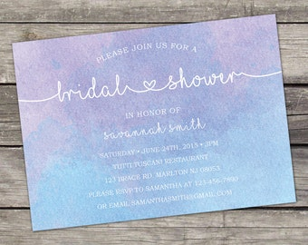 WE PRINT Watercolor Bridal Shower Invitation - Purple and Blue - Elegant Bridal Shower Invitation - Modern Bridal Brunch 143