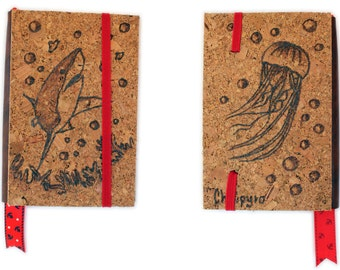 Cork refillable notebook Shark and Jellyfish