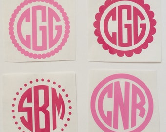 Back to School Scallop Circle Personalized Vinyl Monogram Sticker Decal Assorted Sizes High Quality