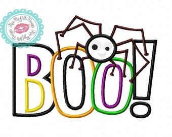 """Halloween """"BOO!"""" with Spider Machine  Embroidery Applique Design"""