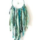 Bohemian Dreamcatcher with green adventurine and sari silk in teal and mint- small- Tribal Wall Hanging - eco friendly dreamcatchers - NFE