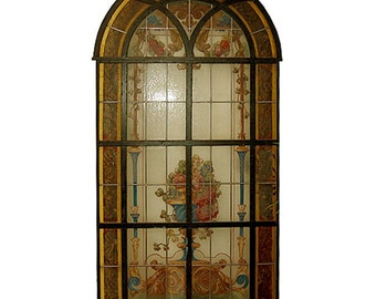 6582 Hand-Painted & Leaded Antique Stained Glass Window