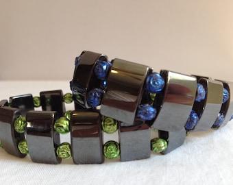 Metal Cube and Rosette Bracelet