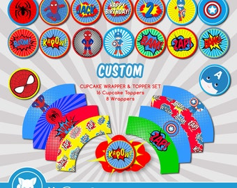 Super hero Cupcake Toppers and Wrappers | Spiderman Cupcake Toppers | Superhero Party | Custom Toppers | Select 2 Hero Per Set