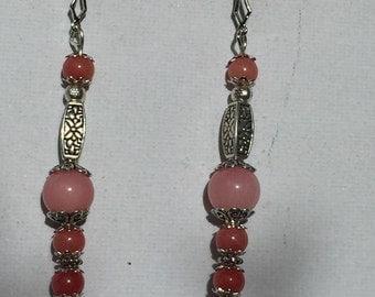 Pink gemstone and Tibetan silver Earrings