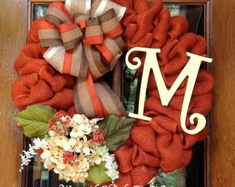 Fall wreath, Burlap fall wreath, Front Door wreath, Halloween wreath, Thanksgiving wreath, Autumn wreath, Initial wreath, Monogram wreath